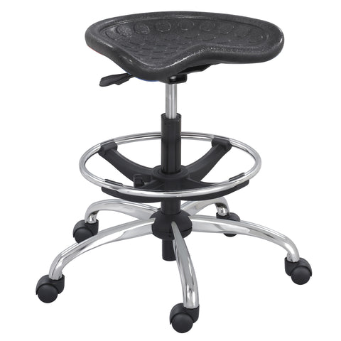SitStar™ Stool, Black with Chrome Base