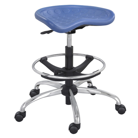 SitStar™ Stool, Blue with Chrome Base
