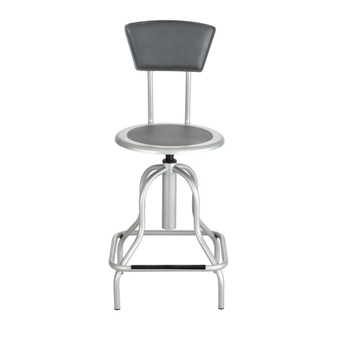 Diesel Stool, High Base with Back, Steel, Silver