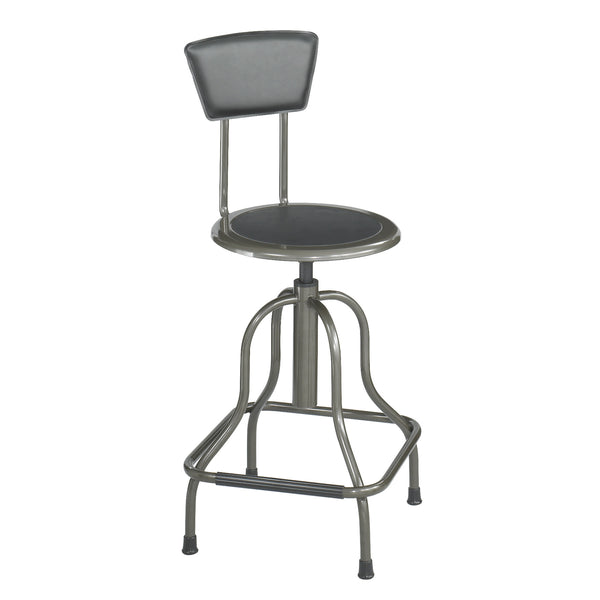 Diesel Stool, High Base with Back, Steel