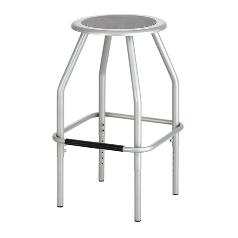 Diesel Adjustable-Height Stool, Steel, SIlver