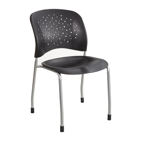 Reve™ Guest Chair, Straight Leg, Round Back, Black
