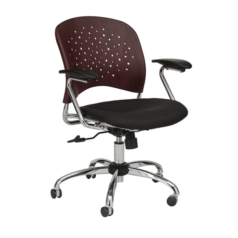 Reve™ Task Chair, Round Back, Plastic Wood Seat & Back, Mahogany