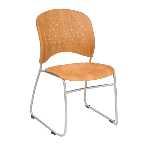 Reve™ Guest Chair, Round Plastic Back, Wood Grain Print, Natural