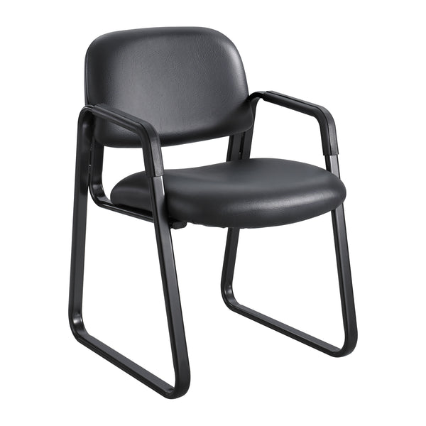 Cava® Urth™ Guest Chair, Sled Base, Black Vinyl