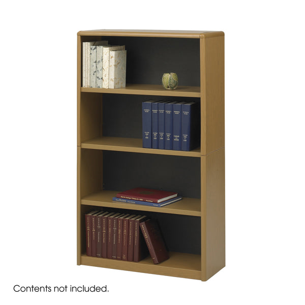 ValueMate® Economy Bookcase, 4 Shelf, Medium Oak