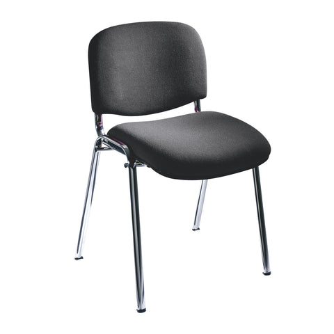 Visit Stack Chairs, Upholstered, Black, (Qty. 2)