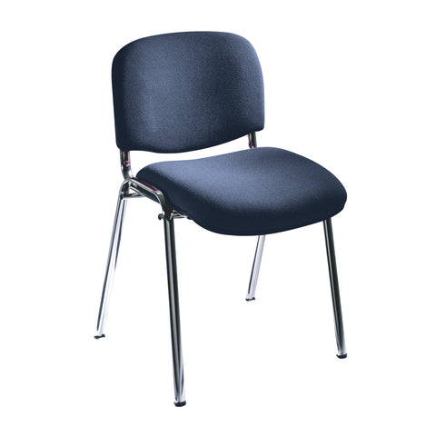 Visit Stack Chairs, Upholstered, Navy Blue(Qty. 2)