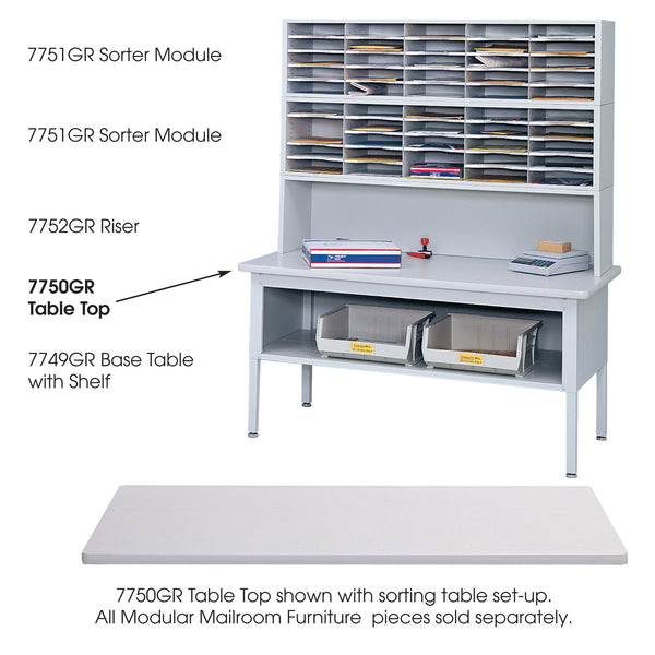 E-Z Sort® Tabletop, Mailroom, Gray