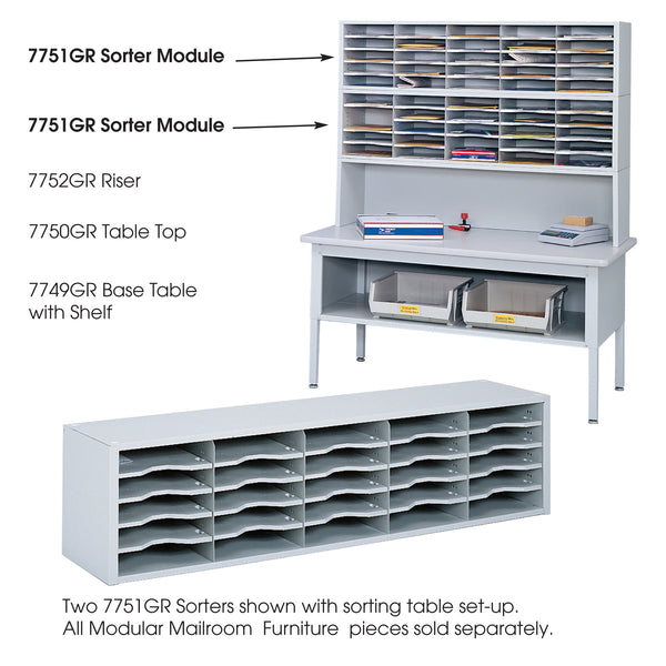 E-Z Sort® Sorter Module, Mailroom, Gray
