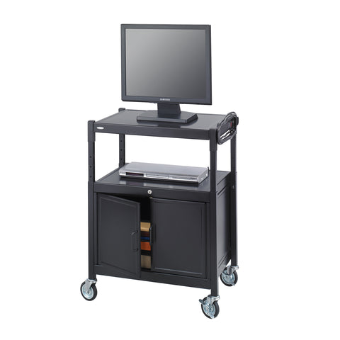 Adjustable AV Cart with Cabinet, Steel, Black