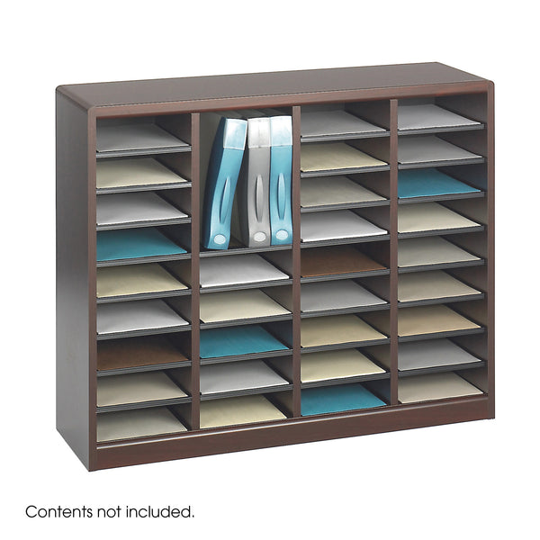 E-Z Stor® Wood Literature Organizer, 36 Compartments, Mahogany