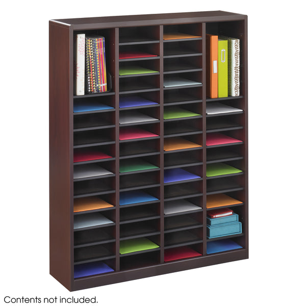 E-Z Stor® Wood Literature Organizer, 60 Compartments, Mahogany