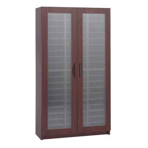 Literature Organizer with Doors, 60 Compartment, Mahogany