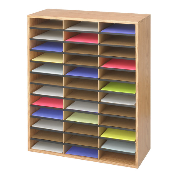 Wood/Corrugated Literature Organizer, 36 Compartment, Medium Oak