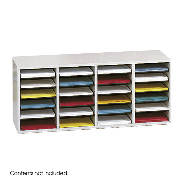 Wood Adjustable Literature Organizer, 24 Compartment, Gray