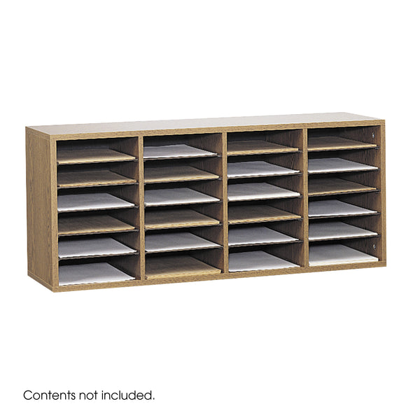 Wood Adjustable Literature Organizer, 24 Compartment, Medium Oak
