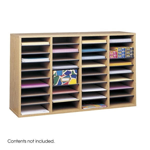 Wood Adjustable Literature Organizer, 36 Compartment, Medium Oak