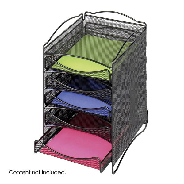 Onyx™ Literature Organizer, 5 Drawer, Mesh, Black
