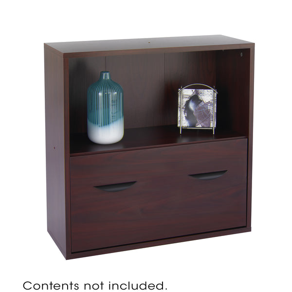 Apres™ Modular Storage, Shelf with Lower File Drawer, Mahogany