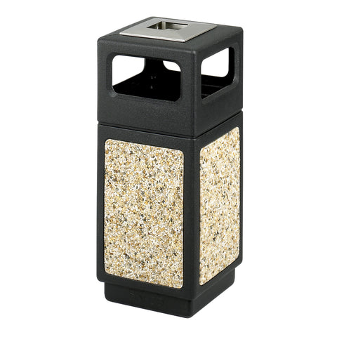 Canmeleon™  Indoor Outdoor Trash Can, Aggregate Panel, Ash Urn,15 Gallon, Black