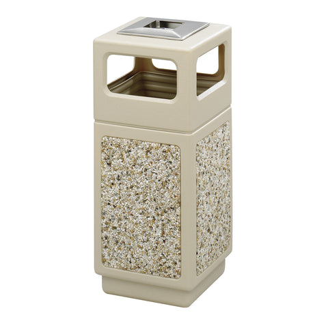 Canmeleon™  Indoor Outdoor Trash Can, Aggregate Panel, Ash Urn,15 Gallon, Tan
