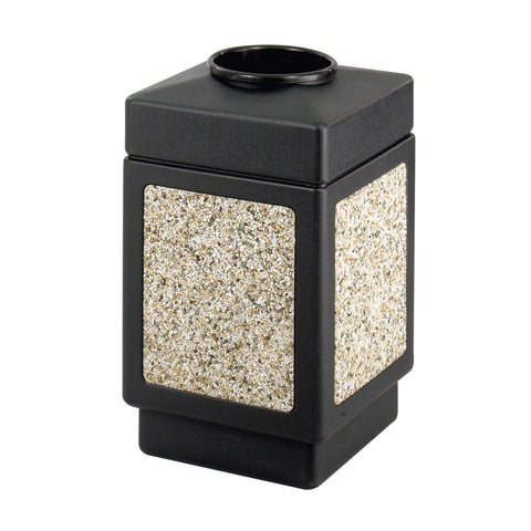 Canmeleon™  Indoor Outdoor Trash Can, Aggregate Panel, Open Top, 38 Gallon, Black