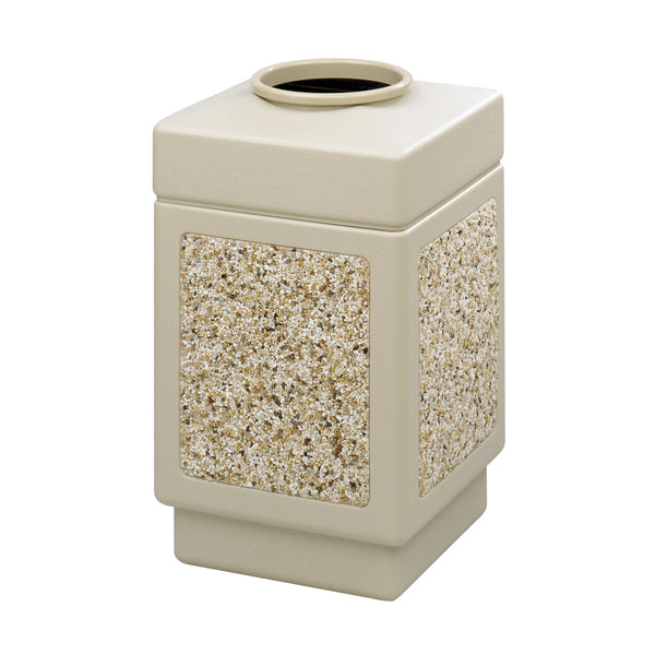 Canmeleon™  Indoor Outdoor Trash Can, Aggregate Panel, Open Top, 38 Gallon, Tan
