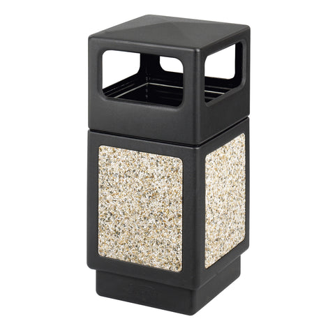 Canmeleon™  Indoor Outdoor Trash Can, Aggregate Panel, Open Side, 38 Gallon, Black