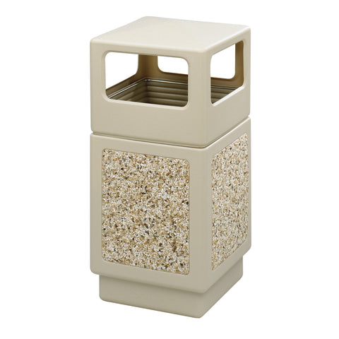 Canmeleon™  Indoor Outdoor Trash Can, Aggregate Panel, Open Side, 38 Gallon, Tan