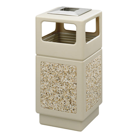 Canmeleon™  Indoor Outdoor Trash Can, Aggregate Panel, Ash Urn, 38 Gallon, Tan