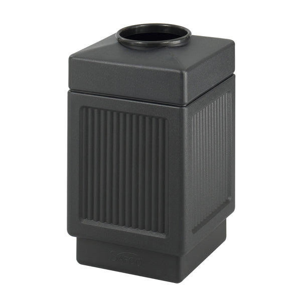 Canmeleon™  Indoor Outdoor Trash Can, Recessed Panel, Open Top, 38 Gallon, Black