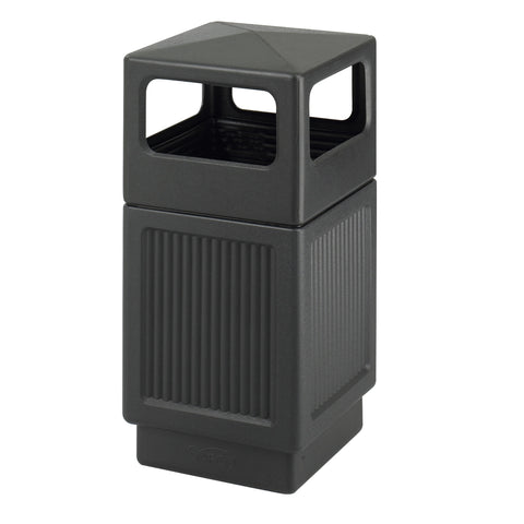 Canmeleon™  Indoor Outdoor Trash Can, Recessed Panel, Side Open, 38 Gallon, Black