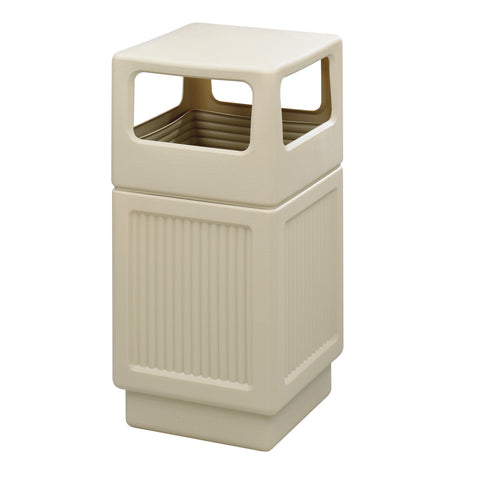 Canmeleon™  Indoor Outdoor Trash Can, Recessed Panel, Side Open, 38 Gallon, Tan