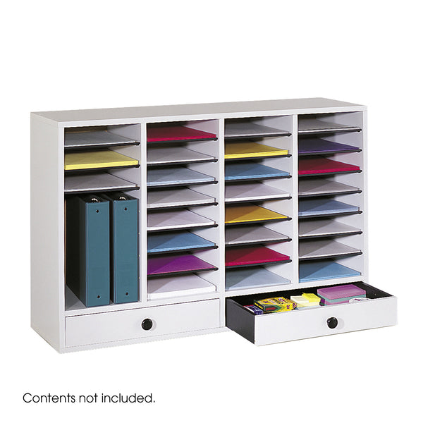 Wood Adjustable Literature Organizer, 32 Compartment, Gray