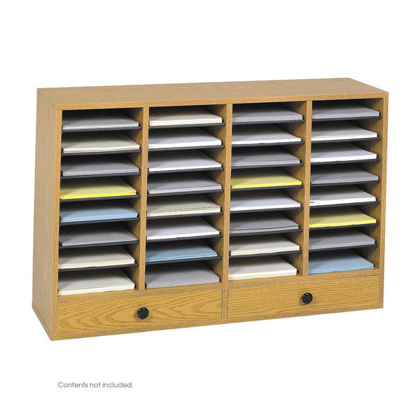 Wood Adjustable Literature Organizer, 32 Compartment, Medium Oak