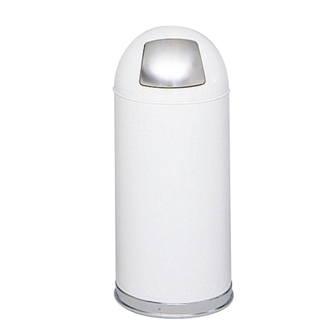 Dome Top Trash Can, Push Door, 15 Gallon, White