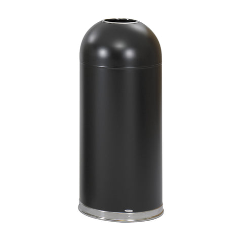 Dome Top Trash Can, Open Top, 15 Gallon, Black