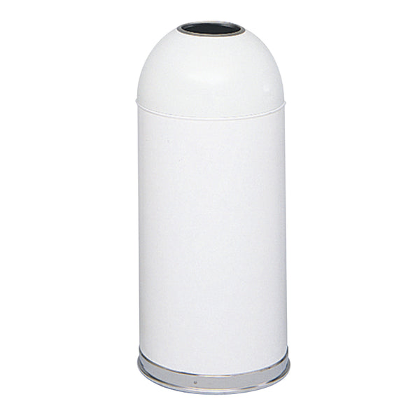 Dome Top Trash Can, Open Top, 15 Gallon, White