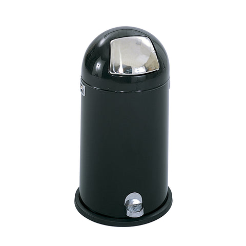 Dome Step-On Trash Can, 12 Gallon, Black