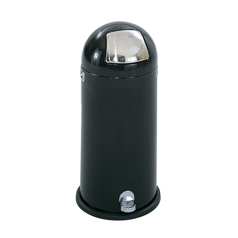 Dome Step-On Trash Can, 15 Gallong, Black