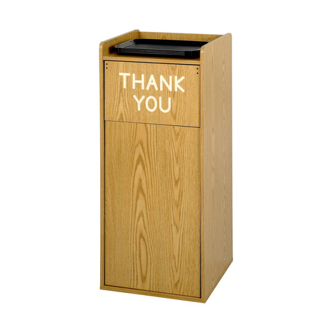 Food Court Trash Can, Push Door, Wood, 36 Gallon, Medium Oak