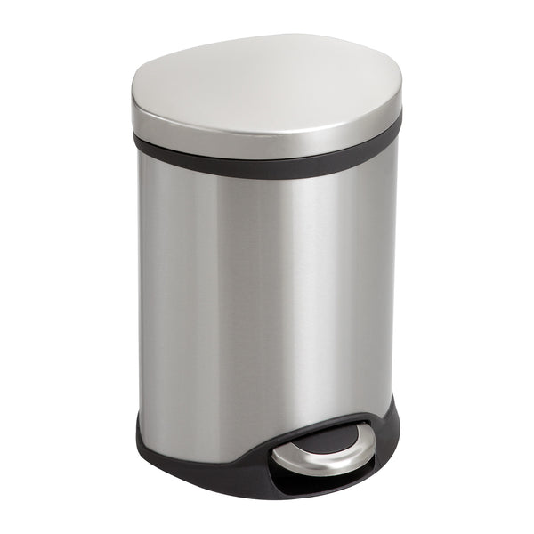 Ellipse Step-On Trash Can, 1 1/2 Gallon, Stainless Steel