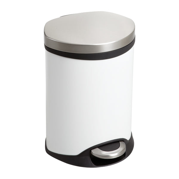 Ellipse Step-On Trash Can, 1 1/2 Gallon, White