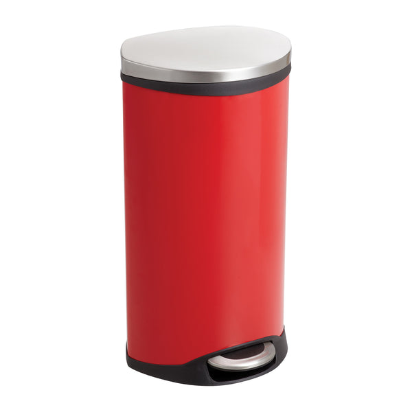 Ellipse Step-On Trash Can, 7 1/2 Gallon, Red