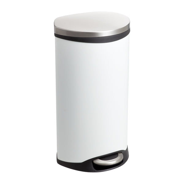 Ellipse Step-On Trash Can, 7 1/2 Gallon, White