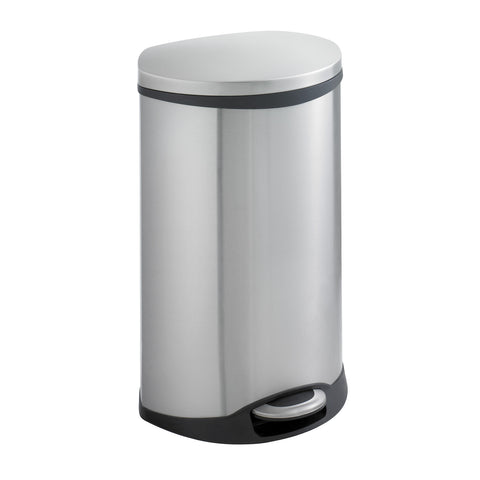 Ellipse Step-On Trash Can, 12 1/2 Gallon, Stainless Steel