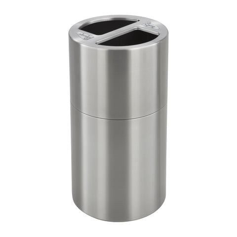Dual Recycling Trash Can, 15 Gallon Each, Stainless Steel