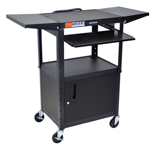 "Black 42"" Adjustable Height Table w/keyboard tray, cabinet & dropleaf shelf by Luxor"