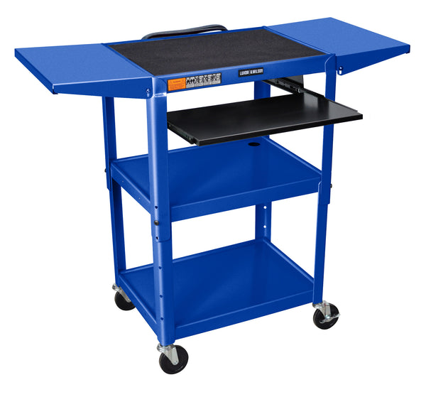 "Blue 42"" Adjustable Height Table w/keyboard tray & dropleaf shelf by Luxor"